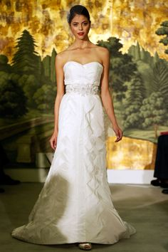 Anne Barge - Spring 2013  TAGS:Ruffles, Embellished, Floor-length, Frills, Strapless, White, Anne Barge, Diamante, Satin, Silk, Glamour