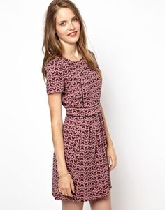 Image 1 ofNW3 Butterfly Print Skater Dress with Short Sleeves