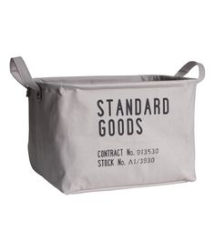 Check this out! Storage basket in thick fabric with printed text motif. Double handles, concealed metal edge at top for stability, and plastic-coated inside. Size 9 x 11 1/2 x 14 1/4 in. - Visit hm.com to see more.