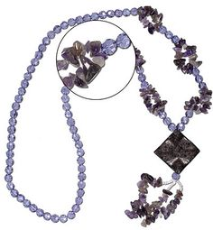 PRODUCT CODE: R2WAME0846  30 Inch long Ready to wear Purple glass round faceted 8mm beads with 9mm amethyst chips and 46mm center piece.   http://www.houseofgems.com/necklaces.aspx