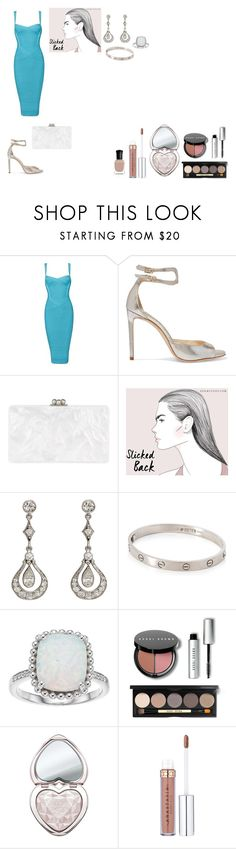 """Mermaid"" by natalielena on Polyvore featuring moda, Jimmy Choo, Edie Parker, Cartier, Bobbi Brown Cosmetics, Deborah Lippmann, Blue, Silver, Heels ve dress"