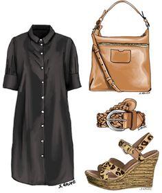 Wenn Sie Ihr Blusenkleid mit einem braunen Flechtgürtel, Leo-Wedges aus Bast und einer Hobo-Bag stylen, erhalten Sie sofort den trendy Safari-Style.