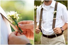 A hot summer wedding - The Groomsmen - no jackets, short sleeves  and bouts on suspenders
