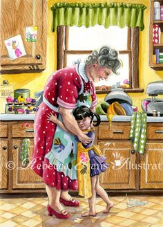 Illustration Art Print of Little Girl and Grandma by Rebecca Evans Art And Illustration, Illustrations, Grands Parents, Grandchildren, Grandkids, Granddaughters, 3d Character, Character Design, Rebecca Evans