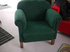 Green Vintage retro lounge, arm chair   Item in good condition, holds shape well, not a lot of stains or wear in the material. Slightly bent wooden back legs, create nice effect. Expect that this lounge was re-covered. Created in the 1950s or 60s, i expect. Yet not sure. Any questions ask. Free shipping.   If your interested in this item contact Jam@iamjam.net Deal direct through PayPal and pay less, make me an offer