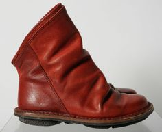 Trippen Red Distressed Leather Pull Up Low Calf Fashion Boots Shoez 37 #Trippen #FashionMidCalf