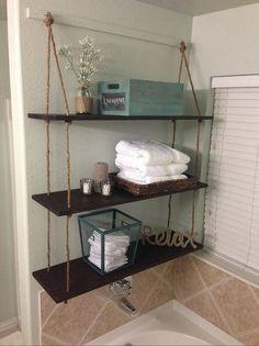 Cuerda 3 estante de colgar estante de madera rústico colgar