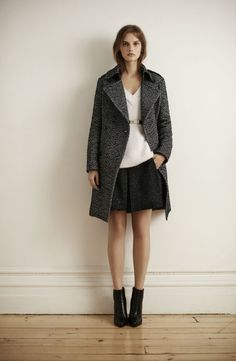 Club Monaco Look -  LILAH COAT, RAINE ANGORA SWEATER, STALINA SKIRT, IMANI BELT AUTUMN LEATHER BOOTIE