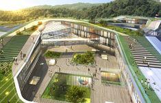 Bilderesultat for Cheongshim International Elementary School Education Architecture, Green Architecture, Concept Architecture, School Architecture, Landscape Architecture, Landscape Design, Architecture Design, Plaza Design, Mall Design