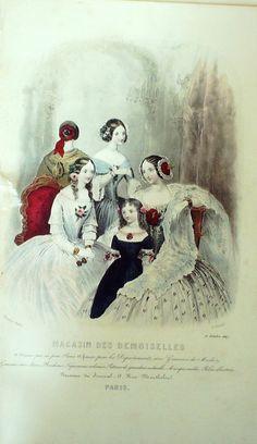 October 1847  +++++++++  GRAVURE de MODE AUTHENTIQUE-F189-MAGASIN DEMOISELLES-ROBES DE BAL-1849