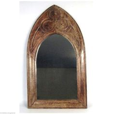 Impressive hand carved Gothic design arched framed wall mirror. Made from solid mango wood and beautifully polished, this range will make a bold statement in any room with its authentic design. Mango wood is a hard, dense wood with a beautiful grain which is made into a variety of arts, crafts, vases, bowls and furniture. | eBay!