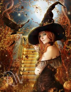 Items similar to sexy fantasy Halloween Witch art with crow and pumpkins art print on Etsy Fantasy Witch, Witch Art, Dark Fantasy, Fantasy Women, Halloween Art, Vintage Halloween, Halloween Decorations, Halloween Witches, Happy Halloween