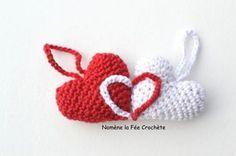 """❤️ Porte-clés déco """"Toi et Moi"""" cœur rouge et blanc au crochet pour un maxi effet d'amour et de tendresse ❤️"""