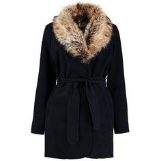 Boohoo Abigail Faux Fur Collar Wrap Coat | Boohoo ($37) ❤ liked on Polyvore featuring outerwear, coats, faux fur collar coat, wrap coat and leather-sleeve coats