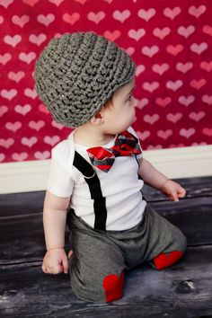 GET THE SET - Valentines Day Boys Bow Tie Onesie or Shirt with Suspenders and Hat - Photo Prop, Baby Boy Gift, Valentine. $36.00, via Etsy.