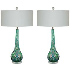 Pair of Vintage Murano Glass with Applied Ribbons of Emerald and Aqua 26/32 inches 3250$ http://www.1stdibs.com/furniture/lighting/table-lamps/