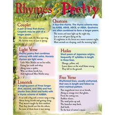 """Chart shows different types of poetry with samples and definitions of each. Back of chart features reproducible activities, subject information, and helpful tips. 17"""" x 22"""" classroom size."""