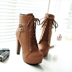 50b17dfe359 High Heel Platform Shoes With Thick Round Head Belt Buckle Women Leather  Boots Fashion Shoes Lace Ankle Boots - Online Retail Coupons. Bottes Femme  ...