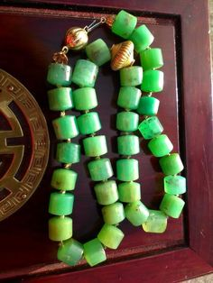 Beautiful VERY RARE Chrysoprase Chalcedony Necklace 10-12mm  Beads