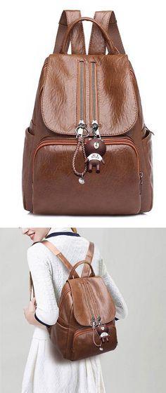 Retro Soft PU Women s Backpack Ladies Double Zipper Brown School Bag   backpack  Bag  school  college  student  canvas  leisure 1a866aaec3