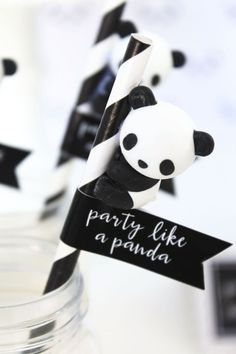 A panda, of course! Check out this monochromatic Party Like a Panda Birthday Party at Kara's Party Ideas Panda Party, Panda Themed Party, Panda Birthday Party, Bear Party, Bear Birthday, 8th Birthday, Pandas Baby, Red Pandas, Baby Animals