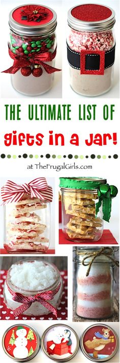Gifts in a Jar Recipes! ~ from TheFrugalGirls.com ~ The Ultimate List of Mason Jar Homemade Gift Ideas! Easy to make and SO fun to receive! So many fabulous Recipes, Sugar Scrubs, Bath Salts, and Sweet Treats to make this year a Homemade Christmas!