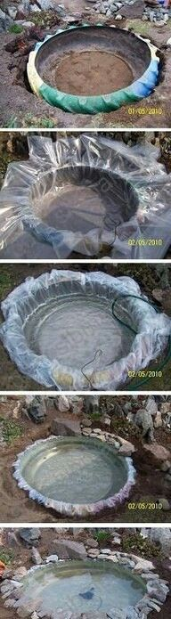 Old semi truck tire used to make a pond. Cool!  @brockeastman1