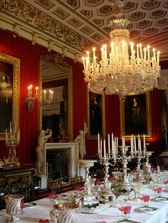 Chatsworth Dining Room, England, United Kingdom. Love the silver candelabras and chandelier. JH