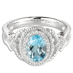 Gabriel and Co. 14K White Gold Oval Blue Topaz .20CT Diamond Ring #jewelry #onsale #topaz #diamonds #ring