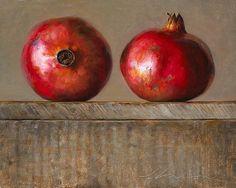 Jeffrey T. Larson  Pomegranates oil on Panel    ~ Haiku   Juicy red rubies   Weatherbeaten skin   belies The sweet jewels within