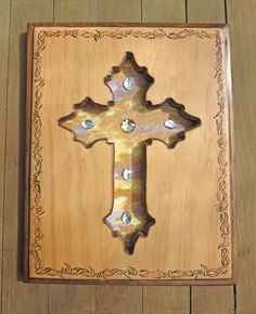 Cross Plaque with Barbwire Motif ~ NCPBWM005