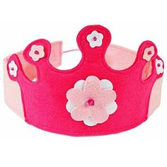 Our Pink Felt Crown makes a perfect birthday crown but is also fun for everyday dress-up play. Two shades of pink and white felt with flower appliques and pink beads form a beautiful princess crown. W