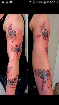 My beautiful watercolor bird tattoo! Soooo happy with it. #watercolor #tattoo #bird