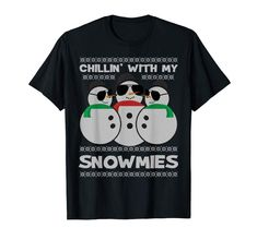 Amazon.com: Chillin With My Snowmies Snowman Ugly Christmas Sweater T-Shirt: Clothing  #findyourthing #shopping #blackfriday #cybermonday #christmas #gifts #giftideas #giftsforhim #giftsforher