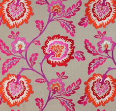 Indian style linen fabric / Manuel Canovas / #pink #red #purple