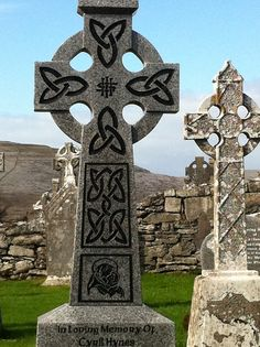 Celtic crosses in the cemetery.