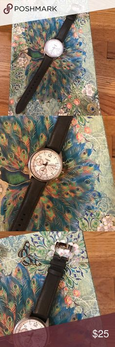 Fossil Watch Genuine leather band. Bands can be changed. Worn a handful of times. Plastic covering still on the back of the watch. Fossil Jewelry
