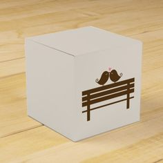Love Birds on Park Bench {pink} Party Favor Boxes