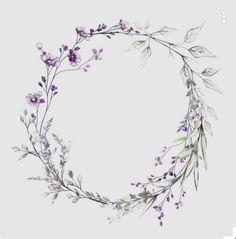 Bracelet vine but using blues instead of purple - Tattowierung Frame Floral, Flower Frame, Flower Art, Wreath Watercolor, Watercolor Flowers, Watercolor Paintings, Motif Floral, Floral Border, Flower Backgrounds