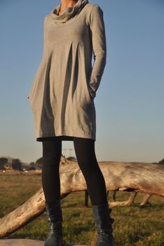 Cowl dress with pockets by moonseats on Etsy, $55.00