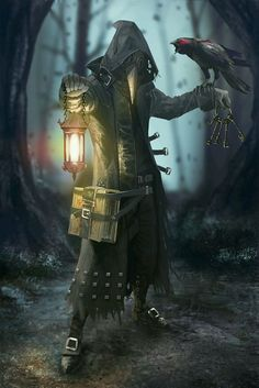 plague doctor and bird in woods steampunk aesthetic character inspiration for fantasy or sci-fi writers Fantasy Rpg, Dark Fantasy Art, Medieval Fantasy, Fantasy Artwork, Dark Art, Fantasy Character Design, Character Concept, Character Art, Concept Art
