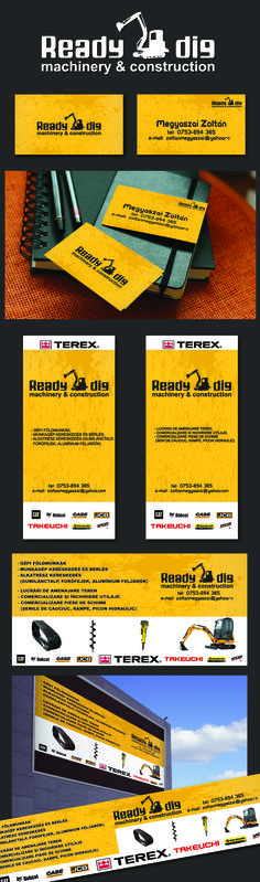 Logo - Business card - Outdoor banner design for Ready2Dig Machinery