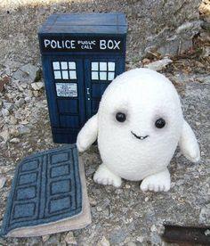 wooden TARDIS, felt TARDIS needlebook, cute baby adipose