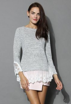 Lace Trimmed Knit Top in Grey - Tops - Retro, Indie and Unique Fashion