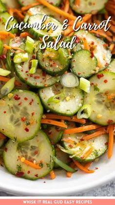 This Cucumber and carrot salad is bright, colorful and bursting with Asian flavors. It's simple to make, exotic and absolutely refreshing!
