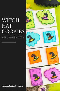 These Halloween cookies with royal icing transfer witch hats on them are a breeze to make! Use simple cookie shapes and stencil on a design, then add the royal icing witch hats and some icing extras and you have amazing Halloween treats! #thebearfootbaker #halloween #halloweentreatideas #halloweencookies