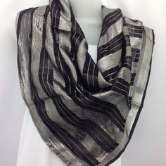Black Square Silk shawl chiffon Holiday gift Best by BlingScarves