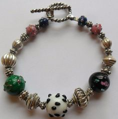 Sterling Silver and Lamp Work Beaded Bracelet 24 Grams by onetime, $20.25