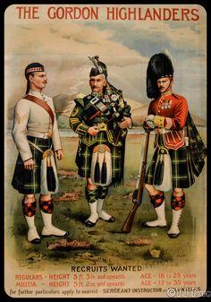 Recruitment poster for the Gordon Highlanders. On display in Edinburgh Castle