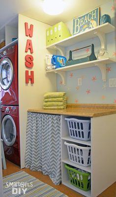 Shelves for kitchen Smart Girls DIY - laundry room makeover Laundry Room Organization, Laundry Rooms, Laundry Storage, Laundry Table, Laundry Baskets, Laundry Area, Laundry Closet, Small Laundry, Closet Storage